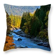 Fall Colors On The Wenatchee River Throw Pillow