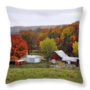 Fall Farmstead Throw Pillow by Cricket Hackmann