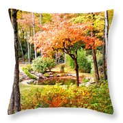 Fall Folage And Pond Throw Pillow