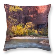 Fall Foliage Along The Virgin River Throw Pillow