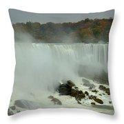 Fall Foliage At American Falls Panorama Throw Pillow