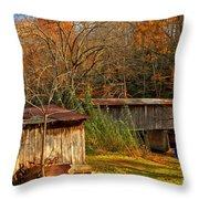 Fall Foliage At Meems Bottom Bridge Throw Pillow