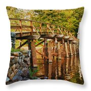 Fall Foliage Over The North Bridge Throw Pillow