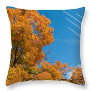 Fall Foliage With Jet Planes Throw Pillow