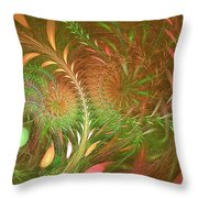 Fall Fractal Fields Throw Pillow