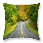 Fall Is Coming Country Road Throw Pillow