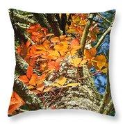 Fall Ivy On Pine Tree Throw Pillow