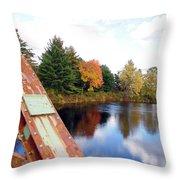 Fall Landscape Old Bridge Maine Throw Pillow