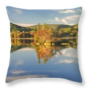 Fall Landscape On Flying Pond In Vienna Maine Throw Pillow