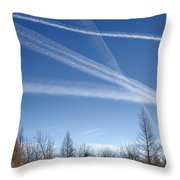 Fall Landscape With Jet Vapor Trails Throw Pillow