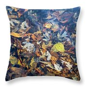 Fall Leaves In A Pond Throw Pillow