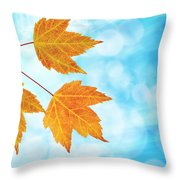 Fall Maple Leaves Trio With Blue Sky Throw Pillow