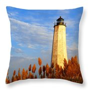 Fall Morning At Lighthouse Point Throw Pillow
