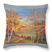 Fall Mountain Path Throw Pillow