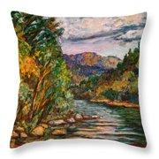 Fall New River Scene Throw Pillow