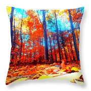 Fall On Fire Throw Pillow