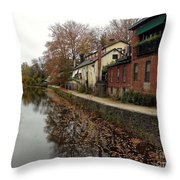 Fall On The Canal Throw Pillow