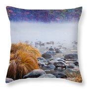 Fall On The Merced Throw Pillow by Bill Gallagher
