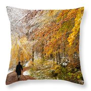 Fall Or Winter - Autumn Colors And Snow In The Forest Throw Pillow