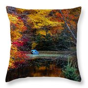 Fall Pond And Boat Throw Pillow by Tom Mc Nemar