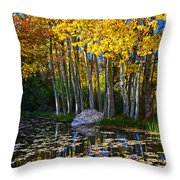 Fall Pond In Mammoth Throw Pillow