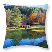 Fall Reflections At The Farm  Throw Pillow