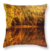 Fall Reflections. Loch Achray. Scotland Throw Pillow