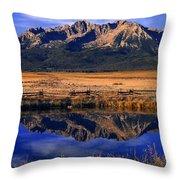 Fall Reflections Sawtooth Mountains Idaho Throw Pillow