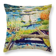 Fall River Scene Throw Pillow