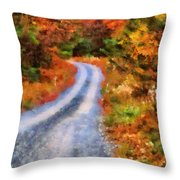 Fall Road To Paradise Throw Pillow