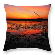 Fall Sunset In The Mead Wildlife Area Throw Pillow