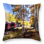 Fall Train Ride New Mexico Throw Pillow