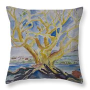 Fall Tree On The Rocks Throw Pillow