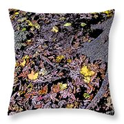 Fallen Autumn Leaves Among The Roots Throw Pillow