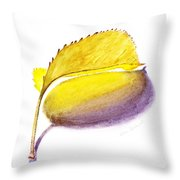 Fallen Leaf Yellow Shadows Throw Pillow