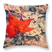 Fallen Red Leaf Throw Pillow