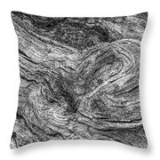 Fallen Tree Bark Bw Throw Pillow