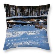 Fallen Tree Deertrails In Winter Throw Pillow