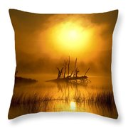 Fallen Tree In Misty Sunrise At Throw Pillow