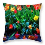 Fallen Tulips Throw Pillow