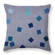 Falling Blue Squares Throw Pillow