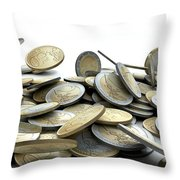 Falling Coins Throw Pillow by Allan Swart