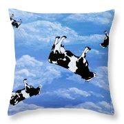 Falling Cows Throw Pillow