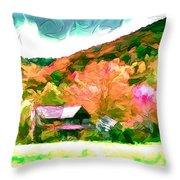 Falling Farm Blended Art Styles Throw Pillow by John Haldane