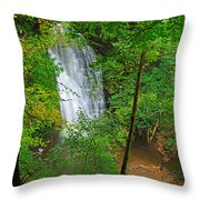 Falling Foss Waterfall In North York Moors National Park Throw Pillow