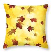Falling Maple Leaves In Autumn Illustration Throw Pillow