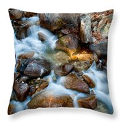 Falls And Rocks Throw Pillow