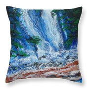 Waterfall In The Forest Throw Pillow