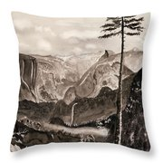 Falls Of The Yosemite Painting Throw Pillow