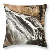 Falls On The Gibbon River In Yellowstone National Park Throw Pillow